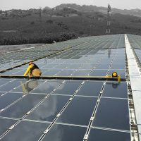 Ligne de vie horizontale BATILIGNE sur photovoltaïque